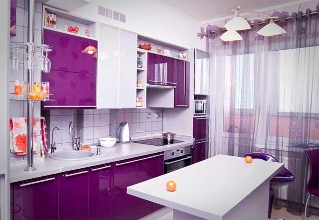 Дизайн кухни фото в фиолетовых тонах