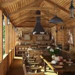 Открытая кухня на даче в деревенском стиле (кантри)