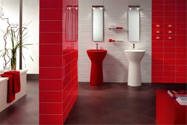 Красный цвет в оформлении ванной комнаты