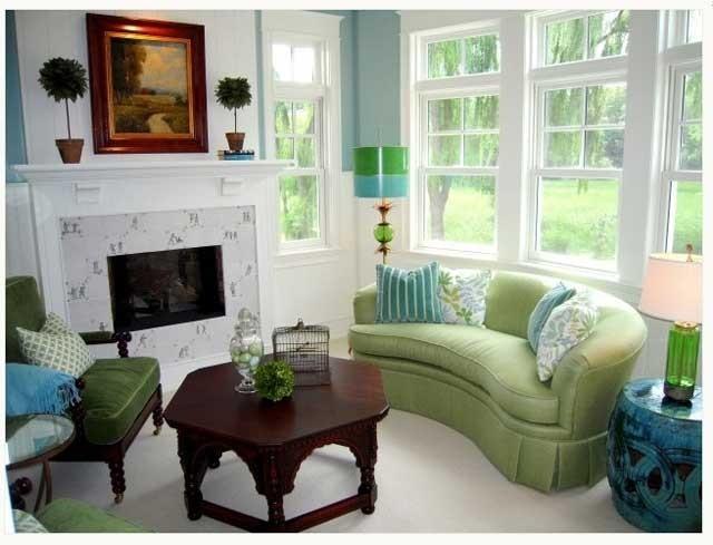 Мебель зеленого цвета в интерьере