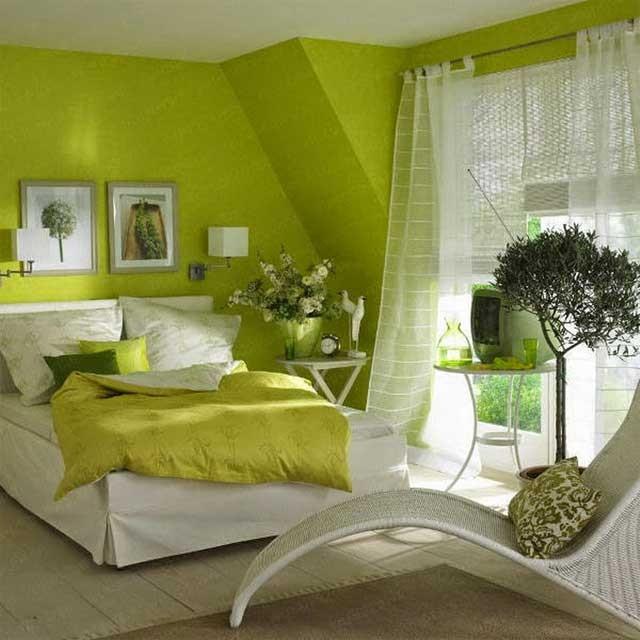 Спальня в оливковых тонах