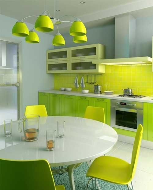 Сочетание яркого зеленого с желтым цветом в дизайне кухни