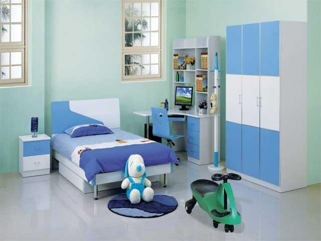 Оттенки голубого в интерьере детской комнате