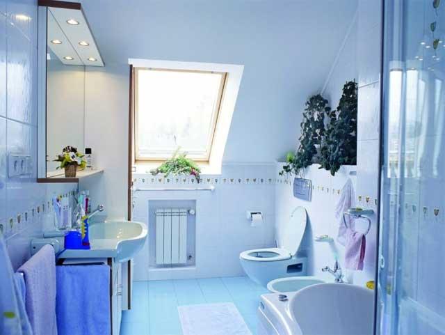 Голубой интерьер в дачном доме