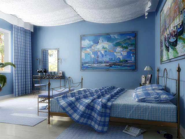 Голубой интерьер в спальне