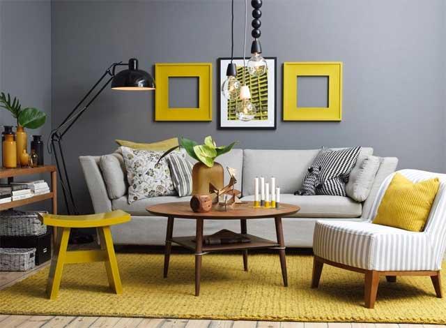Сочетание желтого и серого в дизайне гостиной