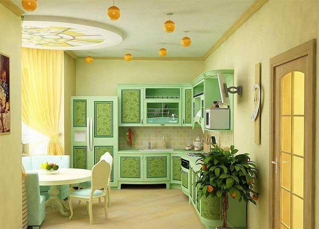 Кухня в желто-зеленых тонах