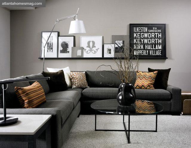 Объединение черных и серых цветов в интерьере дома