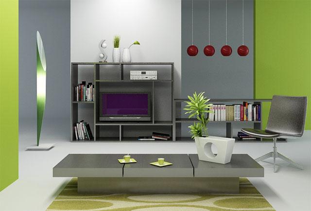 Композиция из серого и зеленого в интерьере дома