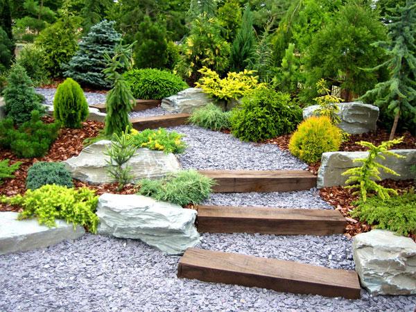 Садовая дорожка из гравия в дизайне сада