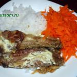 Утиные крылышки с рисом и морковью