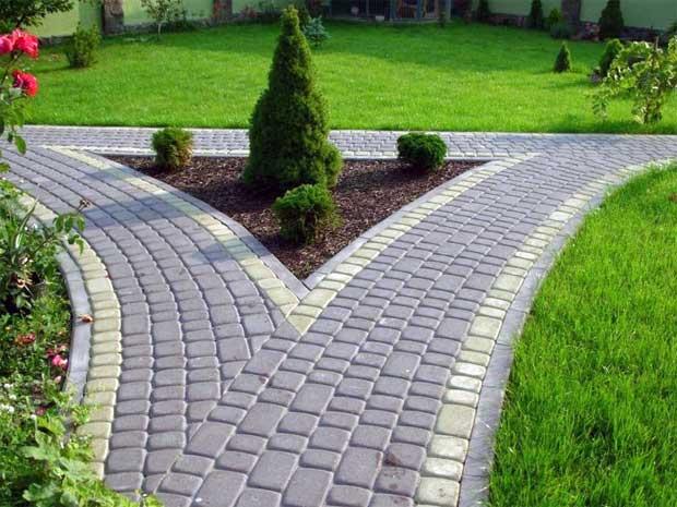 Дизайн тротуарная плитка на даче