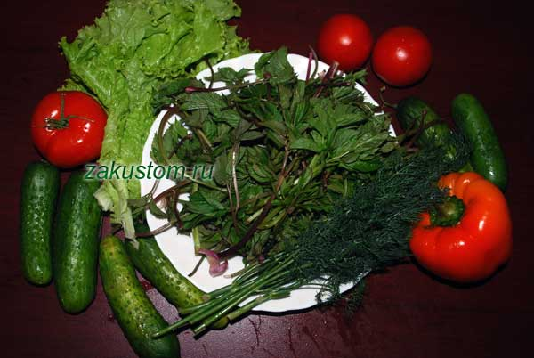 Ингредиенты для салата весеннего