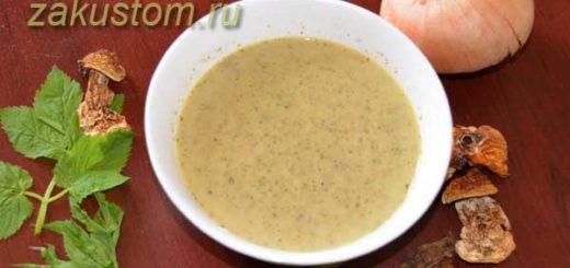 Сливочный крем-суп из сныти с грибами