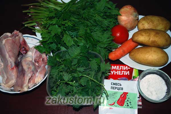 Продукты для супа из крапивы и сныти
