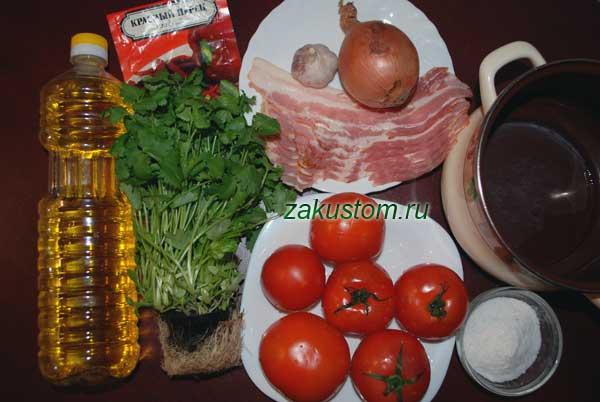 Ингредиенты для томатного супа-пюре
