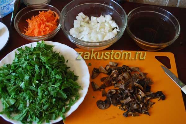 Готовим крем-суп из сныть с грибами - ингредиенты