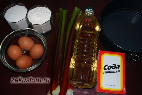 Ингредиенты для шарлотки с ревенем